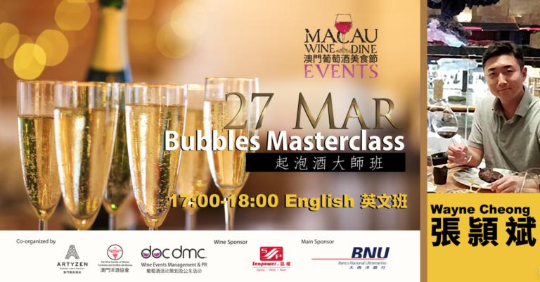 bubbles masterclass, chinese wine & dine